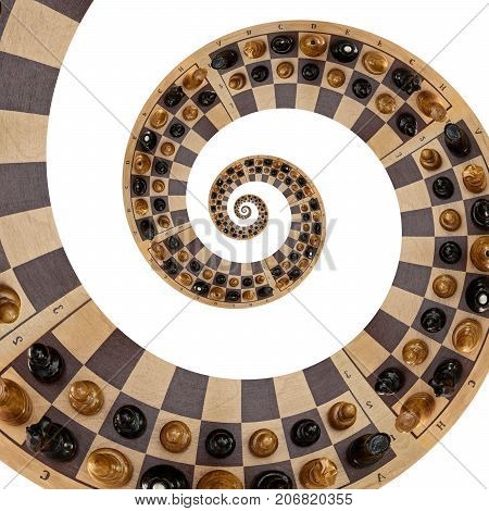Isolated on white abstract wooden chess desk white black figures mix spiral effect. Chess wooden board abstract spiral fractal Surreal chess board figures spiral background pattern fractal effect