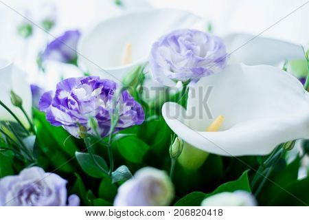 Wedding Bouquet of White Calla and Purple Flowers