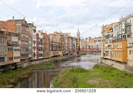 Oñar River Passing By Gerona And A Bridge, Spain
