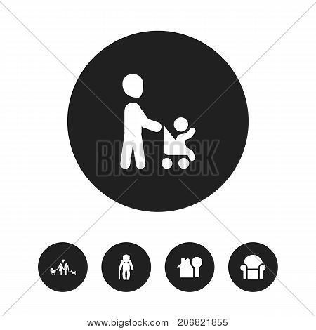 Set Of 5 Editable Folks Icons. Includes Symbols Such As Grandpa , Grandson, House Key