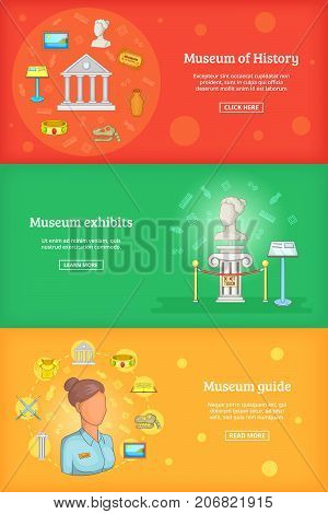 Museum banner set template. Cartoon illustration of banner vector set template for any web design