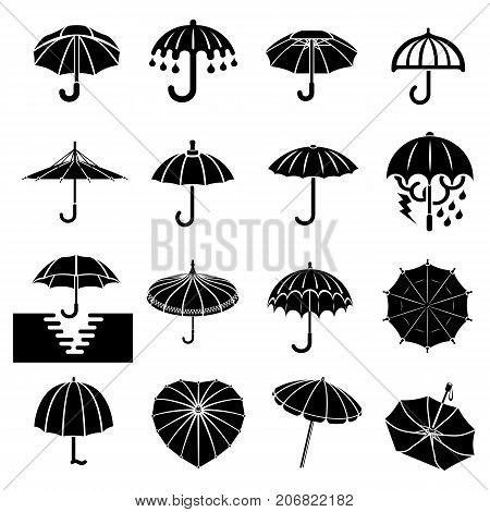 Umbrella icons set. Simple illustration of 16 umbrella vector icons for web