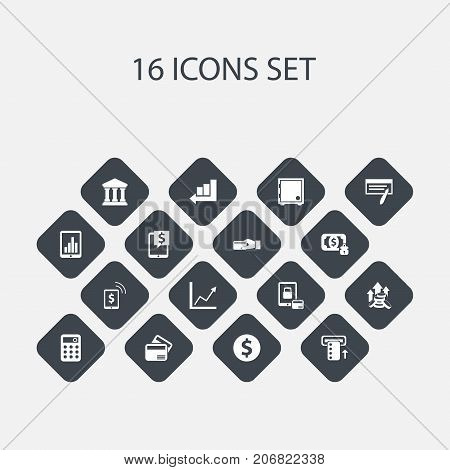 Set Of 16 Editable Finance Icons. Includes Symbols Such As Increase, Electronic Retail, Bill And More