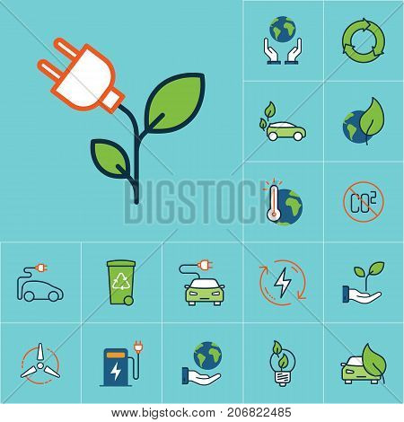 Flat Color Plug With Leaf Icon, Green Energy Set