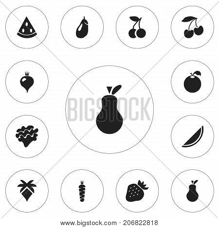 Set Of 12 Editable Dessert Icons. Includes Symbols Such As Muskmelon, Melon, Eggplant And More