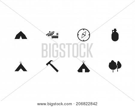 Set Of 8 Editable Camping Icons. Includes Symbols Such As Pitcher, Wood, Plage And More