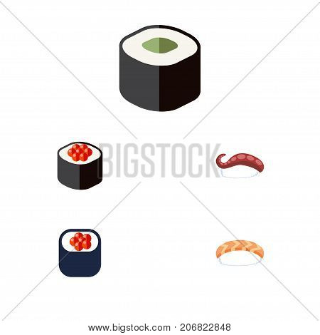 Flat Icon Sashimi Set Of Sashimi, Salmon Rolls, Seafood And Other Vector Objects