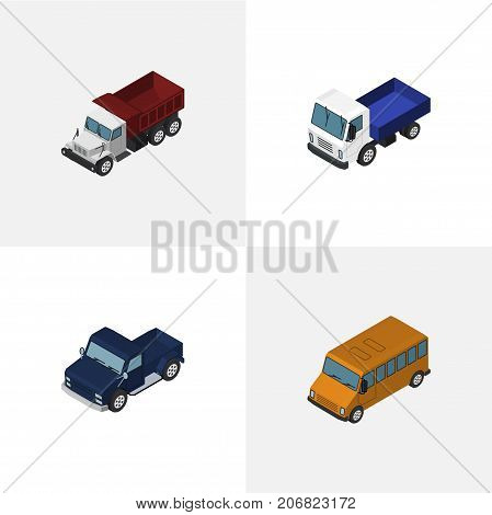 Isometric Automobile Set Of Lorry, Freight, Suv And Other Vector Objects