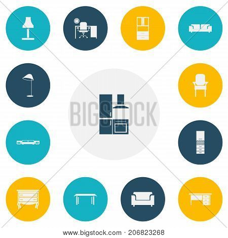 Set Of 13 Editable Furniture Icons. Includes Symbols Such As Sofa, Glim, Wardrobe And More