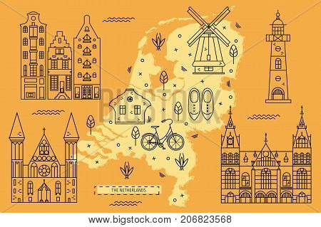 The Netherlands map in flat line design with famous attractions, symbols and decoration. Vector illustration of Holland territory for tourist guides and books, banners, flyers, covers and backgrounds.