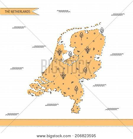 The map of the Netherlands in flat line minimalistic style with decorations. Vector illustration of Holland for tourist guides and books, banners, promotion materials and infographic design.