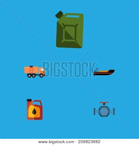 Flat Icon Petrol Set Of Boat, Van, Flange And Other Vector Objects