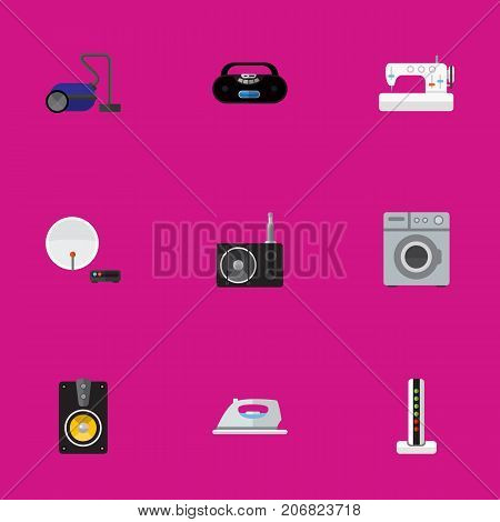 Set Of 9 Editable Tech Flat Icons. Includes Symbols Such As Cassette Player, Tuner, Laundromat And More