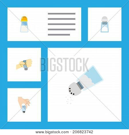 Flat Icon Sodium Set Of Flavor, Condiment, Spicy And Other Vector Objects