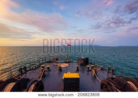 Prow of big passenger boat in the ocean amidst the beautiful nature of the evening sea and the colorful sky during sunset while cruising to Koh Samui Island in Surat Thani Thailand