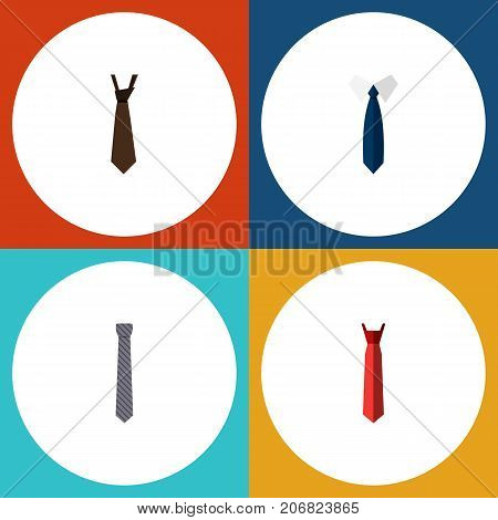 Flat Icon Clothing Set Of Necktie, Tie, Style And Other Vector Objects