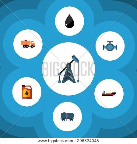 Flat Icon Petrol Set Of Container, Jerrycan, Droplet And Other Vector Objects
