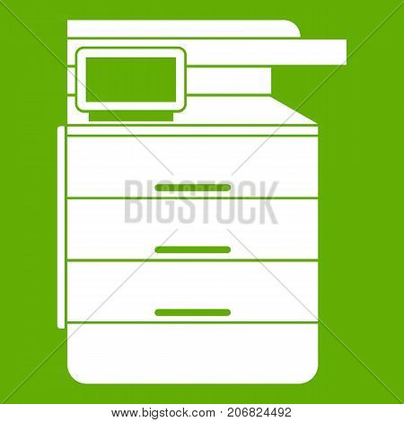 Multipurpose device, fax, copier and scanner icon white isolated on green background. Vector illustration