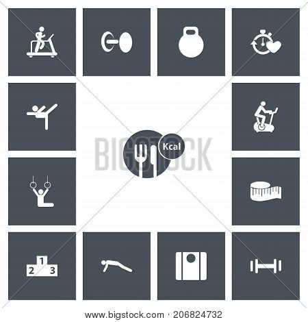 Set Of 13 Editable Training Icons. Includes Symbols Such As Cloth Ruler, Balance, Acrobat And More