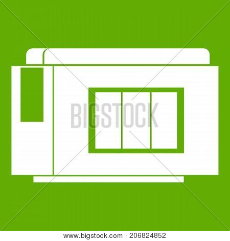 Inkjet printer cartridge icon white isolated on green background. Vector illustration
