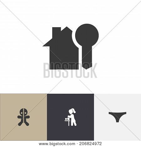 Set Of 4 Editable Kin Icons. Includes Symbols Such As House Key, Mother With Baby, Wizard And More