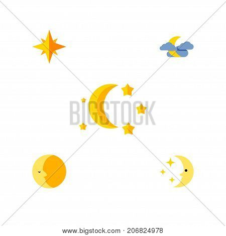Flat Icon Night Set Of Midnight, Asterisk, Bedtime And Other Vector Objects