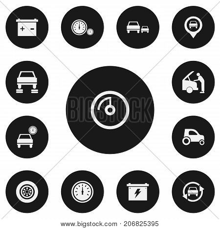 Set Of 13 Editable Vehicle Icons. Includes Symbols Such As Odometer, Speed Display, Race And More