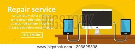 Gadget repair service banner horizontal concept. Flat illustration of gadget repair service banner horizontal vector concept for web design