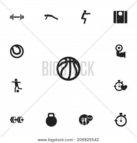 Set Of 13 Editable Lifestyle Icons. Includes Symbols Such As Basket Play, Weightiness, Heavy Training And More