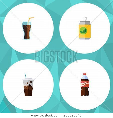 Flat Icon Drink Set Of Fizzy Drink, Carbonated, Beverage And Other Vector Objects