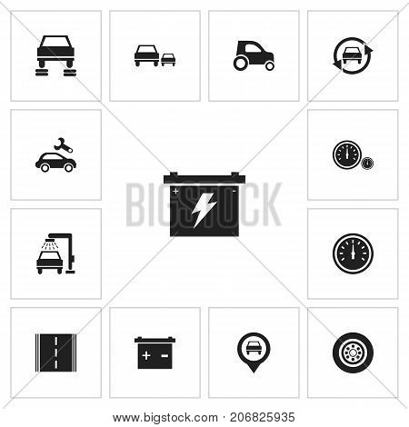 Set Of 13 Editable Vehicle Icons. Includes Symbols Such As Race, Automotive Fix, Car And More