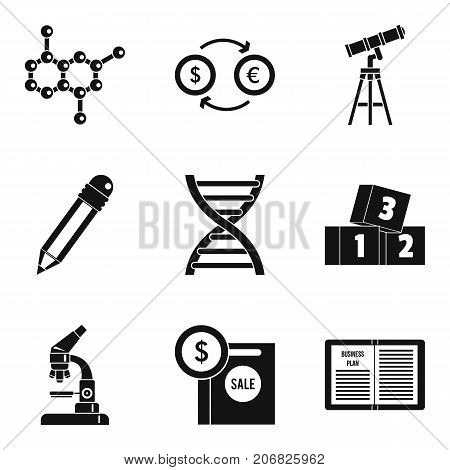 Scientific report icons set. Simple set of 9 scientific report vector icons for web isolated on white background