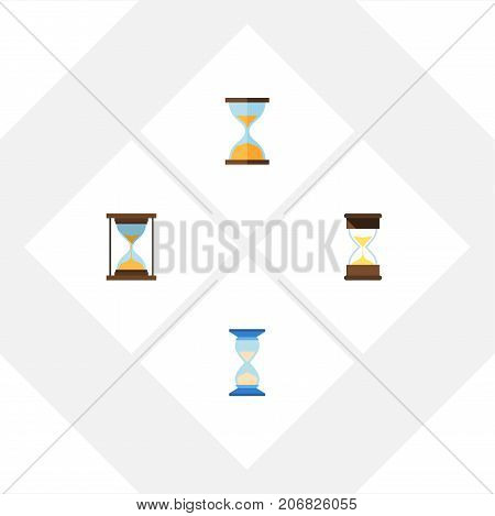 Flat Icon Hourglass Set Of Waiting, Sand Timer, Instrument Vector Objects
