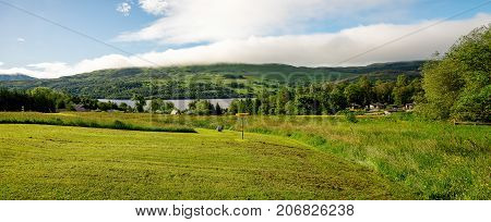 Loch Tay, central Scotland, April 2017: A view of Loch Tay lake from disc golf course