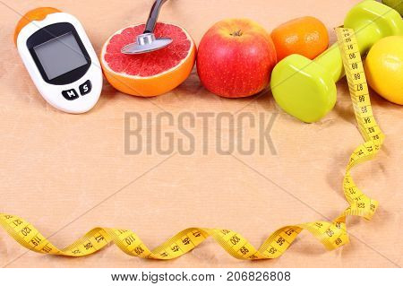 Glucose Meter, Stethoscope, Centimeter And Fresh Fruits, Diabetes, Healthy Lifestyles Concept