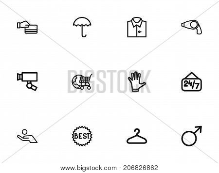 Set Of 12 Editable Business Outline Icons. Includes Symbols Such As Hairdryer, Profit, Female Sign And More