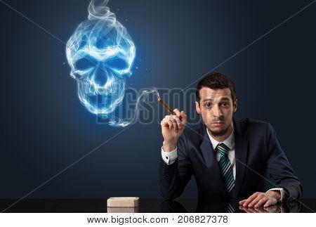 Businessman smoking with skull simbol above his head.