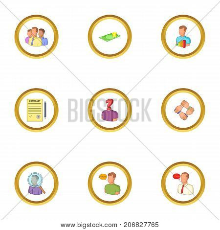Recruitment icons set. Cartoon style set of 9 recruitment vector icons for web design
