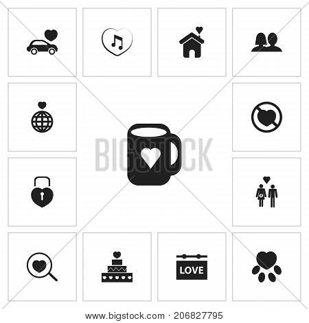 Set Of 13 Editable Heart Icons. Includes Symbols Such As Car, Home, Prohibit And More