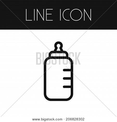 Feeding Vector Element Can Be Used For Feeding, Baby, Bottle Design Concept.  Isolated Baby Bottle Outline.