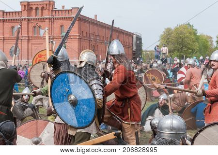 St. Petersburg Russia - May 27 2017: Historical reconstruction of sword fighting. Demonstrative fight with swords in St. Petersburg Russia