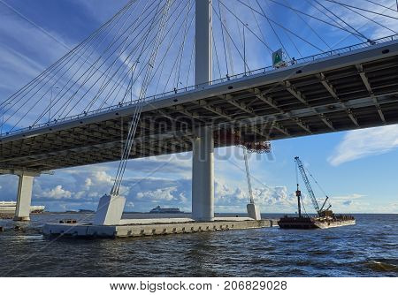 SAINT-PETERSBURG RUSSIA - JULY 20 2017: View of the cable bridge through the western high-speed diameter in St. Petersburg.