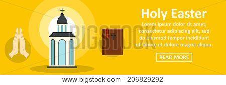 Holy Easter banner horizontal concept. Flat illustration of holy Easter banner horizontal vector concept for web design