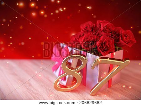 birthday concept with red roses in gift on wooden desk. 3D render - eighty-seventh birthday. 87th