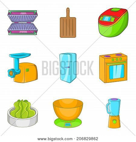 Filling icons set. Cartoon set of 9 filling vector icons for web isolated on white background