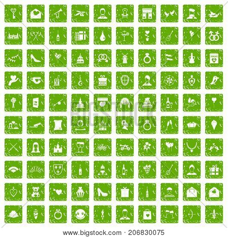 100 valentine day icons set in grunge style green color isolated on white background vector illustration