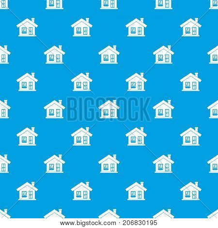 One-storey house with a chimney pattern repeat seamless in blue color for any design. Vector geometric illustration