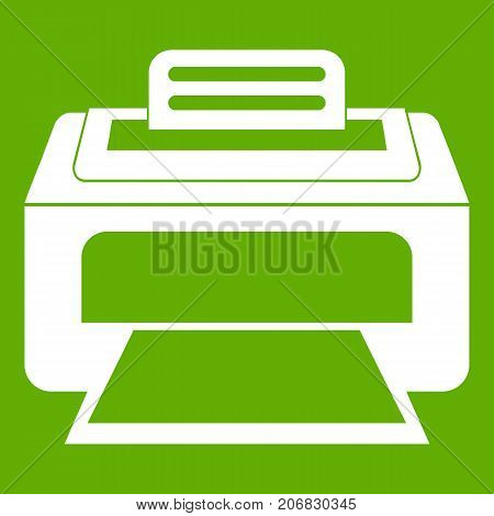 Modern laser printer icon white isolated on green background. Vector illustration