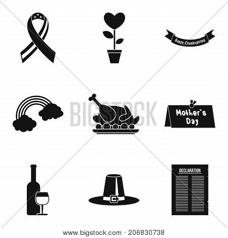 Cause list icons set. Simple set of 9 cause list vector icons for web isolated on white background