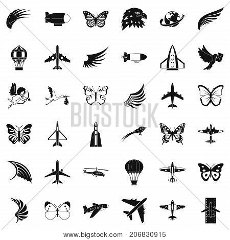 Fly icons set. Simple style of 36 fly vector icons for web isolated on white background